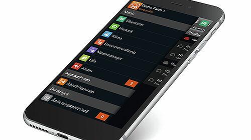 Widok smartfona z aplikacją BigFarmNet.